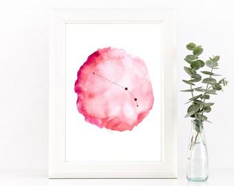 Aries constellation print, Astrology wall decor, Horoscope art, Printable zodiac art, Star constellation, Pink Aries gift