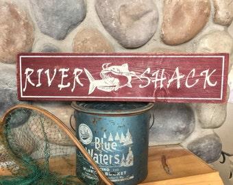 Fishing sign, Catfishing sign, Rustic Fishing River sign, Cat-fish