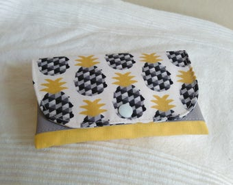 Joke to pineapple, tobacco pouch tobacco yellow ecru and grey patterns pineapple