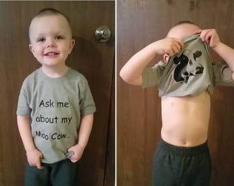 Ask Me About My Moo Cow Funny Shirt Toddlers and Young Kids Any Animal Available Adult Sizes Also Great Gift Birthdays Christmas