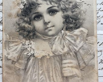 Black and White Etching of Little Girl * 1908 Antique French postcard