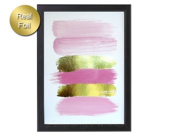 Pink Brush Strokes Print, Abstract Art, Paint Strokes Print, Pink Gold Nursery, Pink Paint Strokes Gold Foil Print, Brush Strokes Foil Print