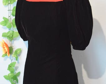 Yves Saint Laurent Rive Gauche vintage 70s 80s black velvet evening dress
