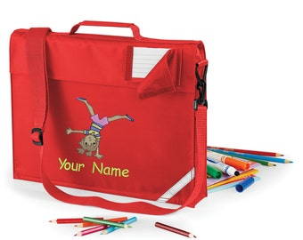 Personalized Embroidered School Book Bag-Messenger bag Preschool - kindergarten book bag with strap  With Gymnastics  Design and Name