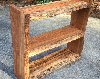 Live edge bookcase, raw edge bookcase, natural edge bookshelf, shelves, Custom bookshelf, slab bookshelf, shelves customized built-to-order