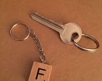 F wooden tile keyring