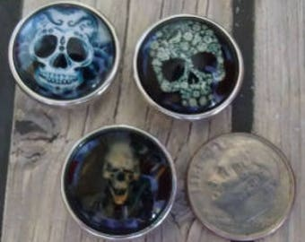 Interchangeable Snap Button Jewelry, Skull's Set of 3, #e-128