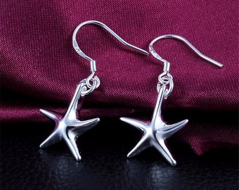 Sterling Silver Starfish Earrings, Star fish jewelry, star fish, sterling silver, valentines gift