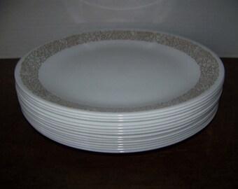 "Corelle Woodland Brown 10-1/4"" Dinner plates x 14 Corningware USA Woodland Brown Dish"