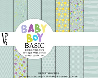 Baby Girl Basic Digital Paper Pack Instant Download Printable  Baby Boy Nursery Baby Shower Blue  Green Basic Stripes Dots CAS ClipArt 12x12