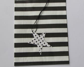 5 bags kraft paper bleached - 13x18.5 cm striped black & white for gift wrapping, creation, treats