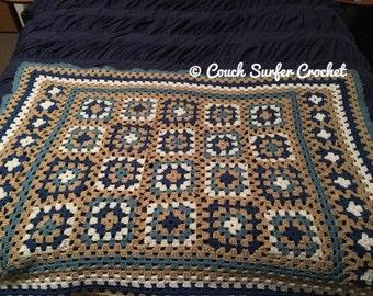Crochet Blanket / Crochet Afghan / Granny Square Blanket / Vintage Crochet / Vintage Blanket / Handmade Decor / Living Decor / Afghan