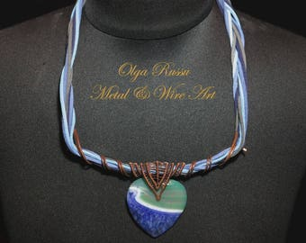 """Copper (metal) plaited necklace """"Edge of the World"""" with agate,something blue,gift for her,personalized,large necklace,wrap necklace"""