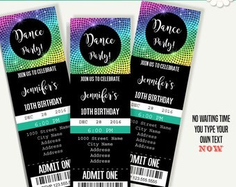 Dance party invitation, Dancing ticket template, Instant Download printable invitation, Self Editable PDF File A247