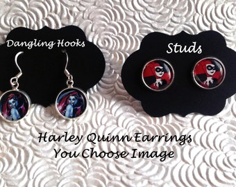 Harley Quinn Earrings, harley quinn jewelry, jewelry sets, childrens jewelry, suicide squad jewelry, joker jewelry, charms, silver, pendant