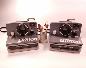 Pair of Polaroid The Button Cameras, Untested, Polaroid Sx-70 film Camera
