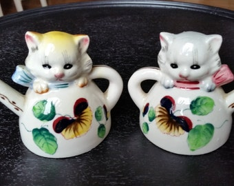 Cats Sitting In Teapot Salt and Pepper Shakers