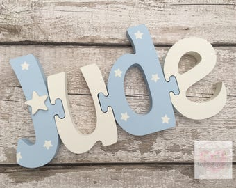 4 Letter Personalised Wooden Freestanding Jigsaw Name