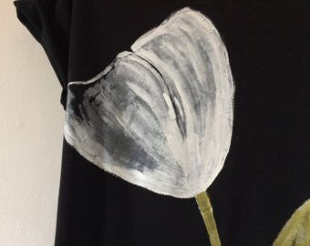 Hand Painted White Tulip on Black T-shirt, Organic Cotton and Ethically Made
