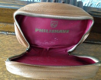 Vintage Philishave Leather Small Case