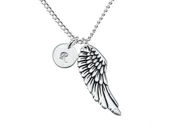 Angels Wing Necklace With Initial, Silver Wing Charm Necklace, Personalized Angel Wing, Angels Jewellery, Wing Pendant Necklace