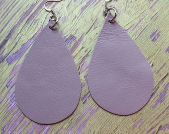 Extra large gray teardrop leather earrings