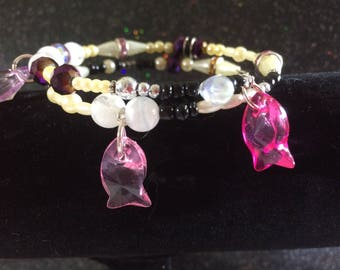 Memory Wire  Fish Themed Bracelet in Pearl, pink and Purple
