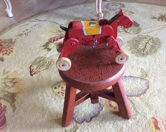 For David, Vintage, Wood Bucking Horse Toy, Key Wind, Japan, Works Good!
