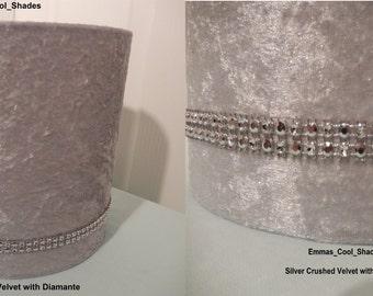Handmade Lampshade - Crushed Velvet Silver Fabric with Diamante - Drum Bespoke