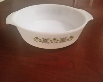 Anchor Hocking Fire King Casserole Dish Ovenware cookware Milk White Glass Green Meadow Pattern 1.5 qt