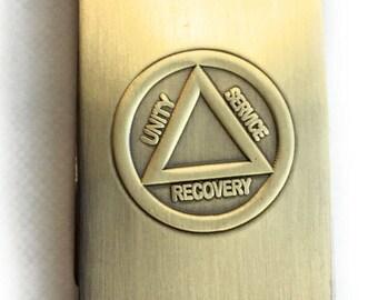 AA Logo Circle Triangle Three Legacies Unity Service Recovery Brass Sobriety Money Clip