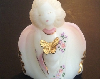 Fenton glass guardian angel, Fenton glass figurine, Fenton Glass collectible, vintage Fenton Glass