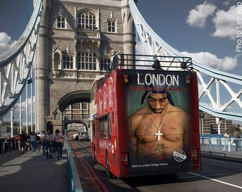 Tupac London Bus wall art canvas .... various sizes available