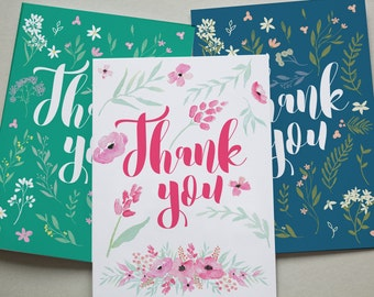 Assorted Thank You Cards 6 Pack - Floral Flowers Green Pretty Set Cards (2 Designs) TYMIXPK006_CP