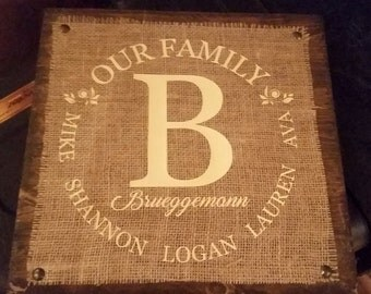 Personalized Family Burlap Sign / Plaque