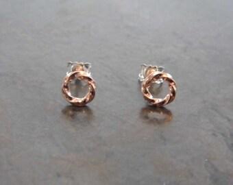 Twisted earrings gold golden rose / / minimal Design