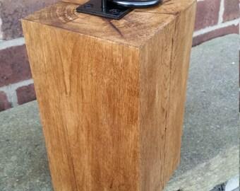 Solid Oak Door Stop with Iron Ring