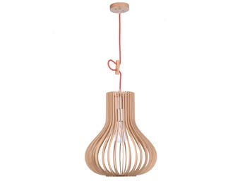 Wood Cage Pendant Light Fixture,Hanging Lamp,Suspended Lighting,Wooden Lamps,Bar Foyer Ceiling Lamps