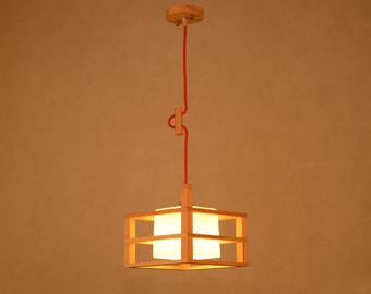 Square Pine Wood And Glass Pendant Lights LightingGlass LampsWooden Lamps