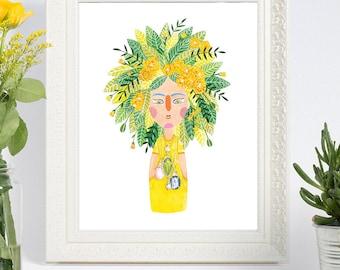 Marigold illustration Print, whimsical art, floral art, whimsical illustration, 8 x10, 5 x7, Art Print, illustration, hipster art, wall art