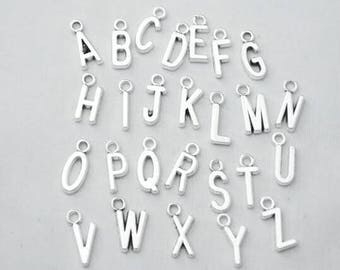 ADD A CHARM - Alphabet Letter Antique Silver Initial Charm with jump ring - Listing is for One Charm