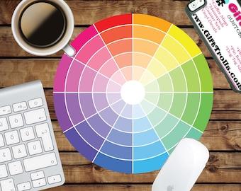 Color Wheel Circle Mouse Pad - Mousepad - CoWorker Teacher Gift - Artist - Colors - Paint - Art - Watercolor - Reminder - Design