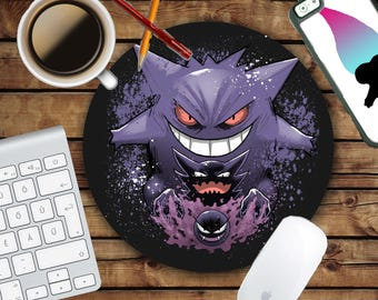 Gengar Evolution Mousepad - Mat - Round - Pokemon - Mouse pad Co worker Gift