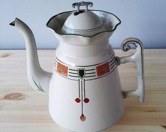 Antique French Enamel Coffee Pot - Ancienne cafetière émaillée art déco -  Unique Bamboo Handle