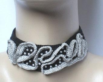 Black choker,Crochet choker,Crochet collar,Statement necklace choker,Punk rock collar, Punk choker, Black collar