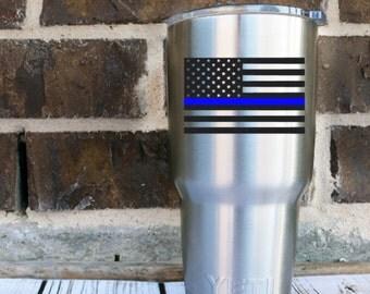 Thin Blue Line Flag - Thin Blue Line - Blue Lives Matter - Blue Line - Back The Blue - Police Officer - Sheriff - Tumbler Decal