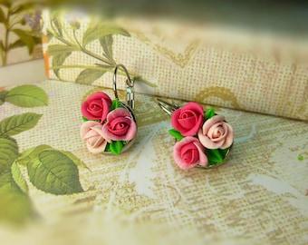 Rose earrings Cute earrings Flowers earrings Floral earrings Gift for women Rose jewelry Pink earrings