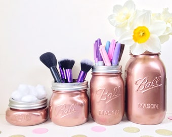 Copper Mason Jar wedding, makeup brush holder, rose gold decor, desk accessories, mason ball jar, makeup organizer, desk tidy, kilner jar