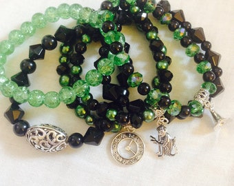 Wicked the musical themed Elphaba stacked bracelets Defying Gravity Glinda Wicked Witch Wizard of Oz Musical