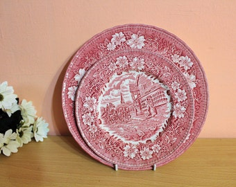 Royal Tudor Ware Coaching Taverns 1828 2 Plates & Bowl Staffordshire England Red and White Diner Plates Set